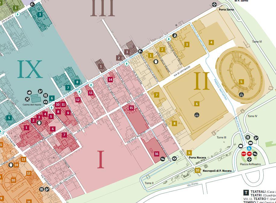 Cartina Pompei mappa Regio I e II