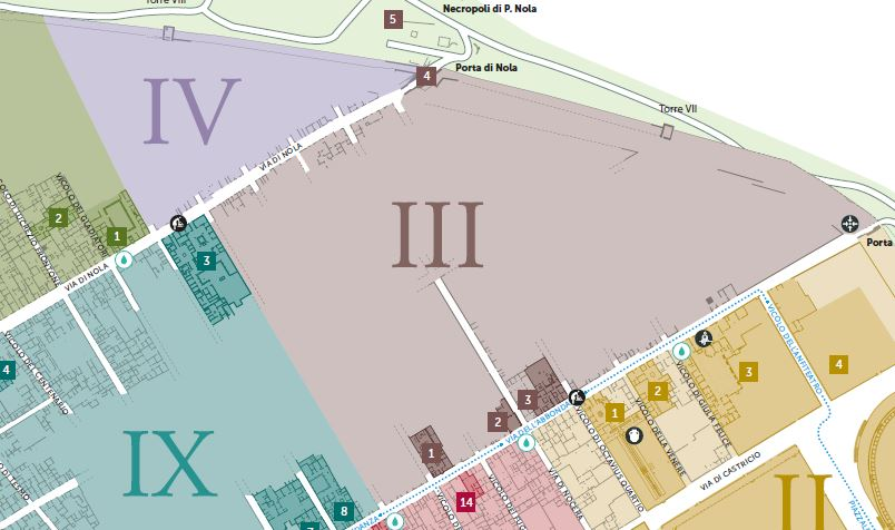 Cartina Pompei mappa Regio III e IV