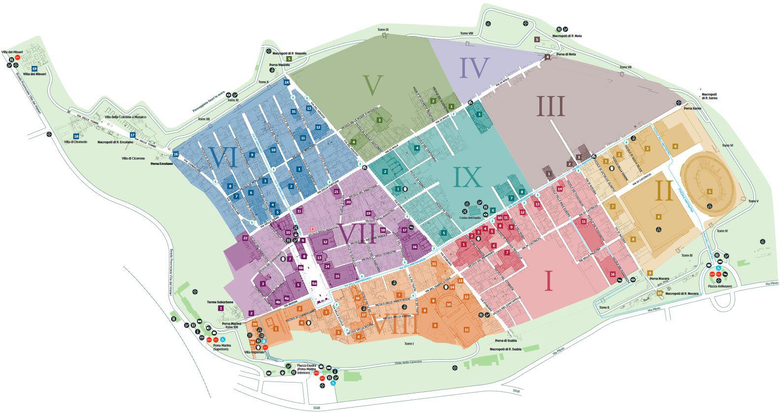 Cartina Pompei mappa per visitare gli scavi archeologici
