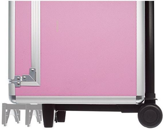 Dettaglio della base estensibile della valigia nail art rosa