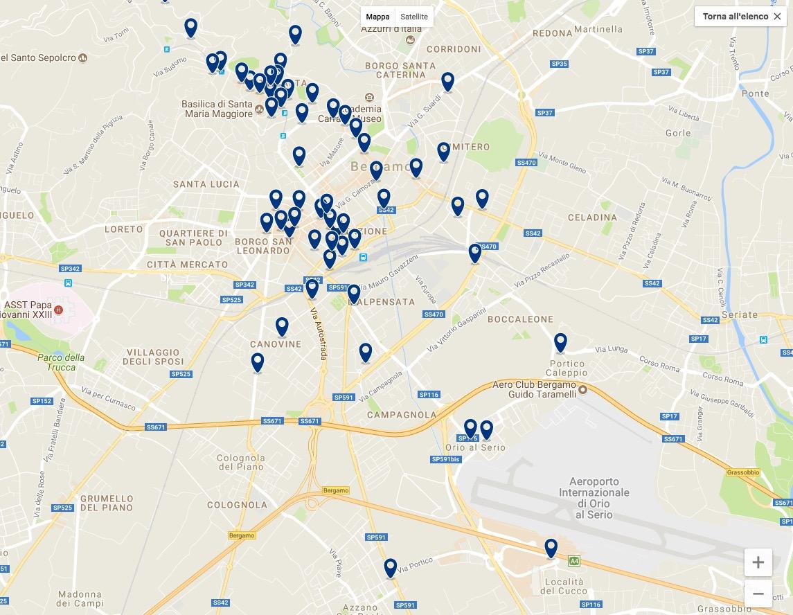 Hotel vicino aeroporto Bergamo - Orio al Serio mappa vie