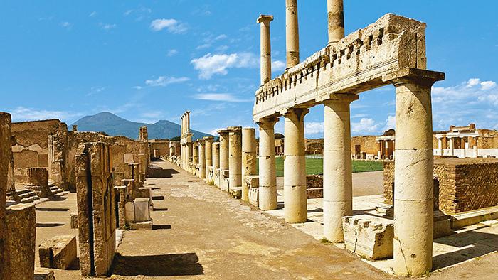 Mappa con strada Pompei colonne