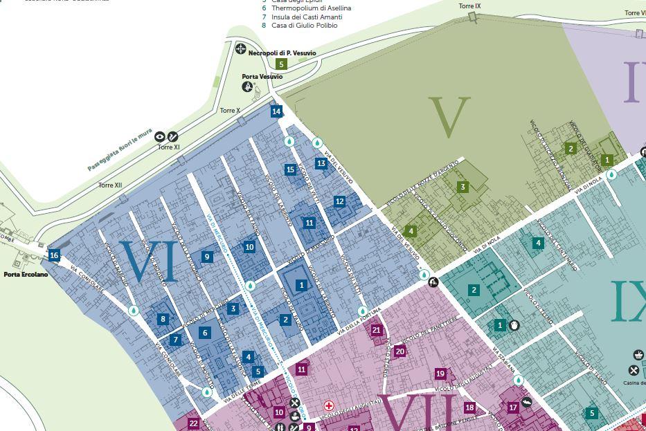 Mappa turistica di Pompei Regio V e VI