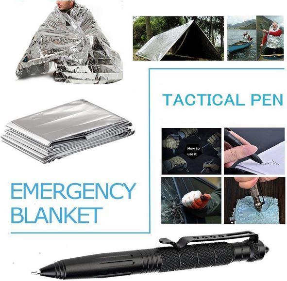 Survival kit coperta termica penna frangivetro