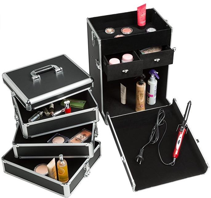 Valigia nail art ricostruzione unghie - beauty case nera cassetti
