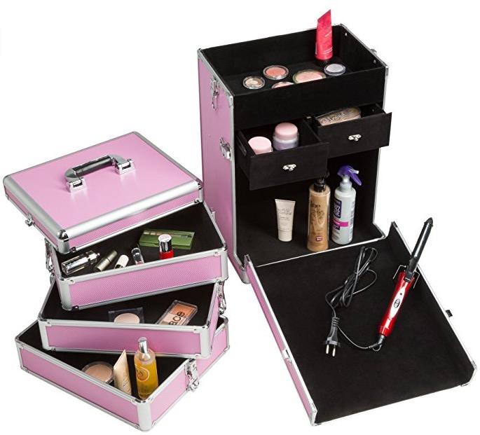 Valigia nail art trucco rosa cassetti