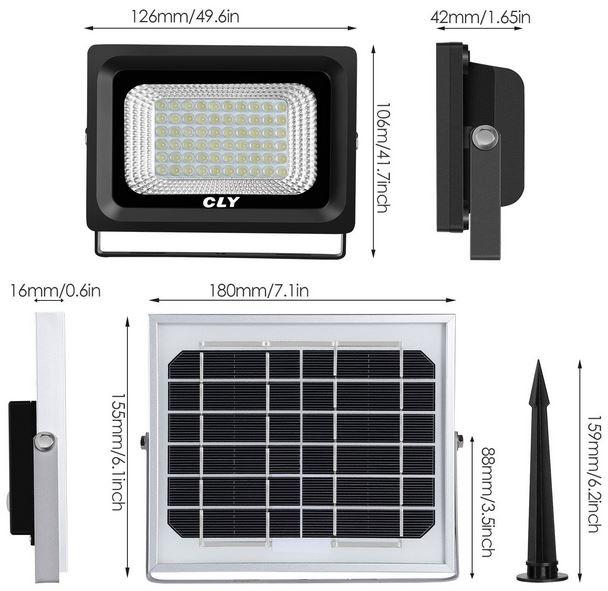Faretto solare led esterno misure